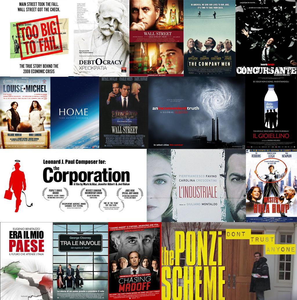 Raccolta di locandine di film che parlano di crisi economica e ambientale